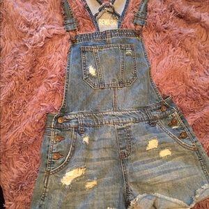 Distressed Overalls/Bibs Shorts